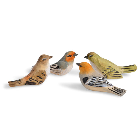 Hand Carved 4.5-inch Wooden Bird Figurines, Set of 4