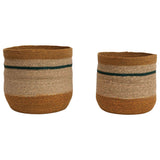 Creative Co-op Handwoven Natural Seagrass Striped Baskets, Set of 2, Multicolor