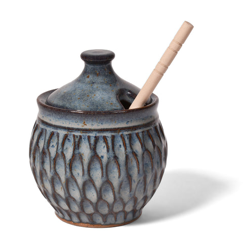 Dirty Dog Pottery Handmade Carved Honeypot, Shades of Blue