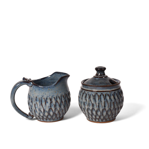 Dirty Dog Pottery Handmade Carved Cream and Sugar Set, Shades of Blue