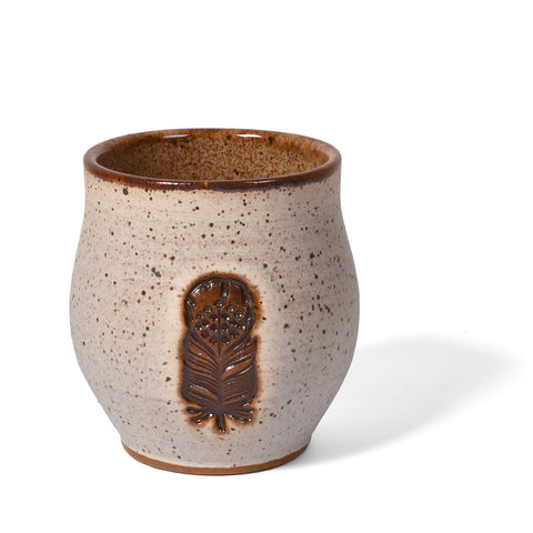 Dirty Dog Pottery Handmade 8-ounce Feather Tumbler in Speckled Ivory for Tea, Espresso, Wine, Sake