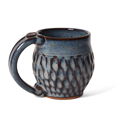 Dirty Dog Pottery Handmade Carved Mini Mug for Tea, Espresso, Shades of Blue