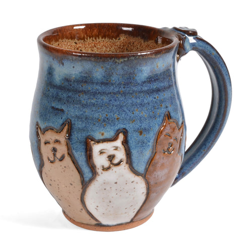 Dirty Dog Pottery Cat Trio Mug, Handmade in the USA