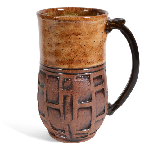 Dirty Dog Pottery Embossed 18-ounce Tall Mug, Brown