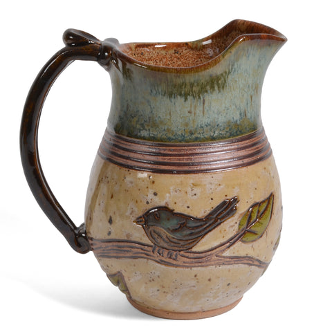 Dirty Dog Pottery Bird on Branch Handmade 16-ounce Pitcher