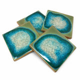 Dock 6 Pottery Coasters with Fused Glass, Set of 4, Jade