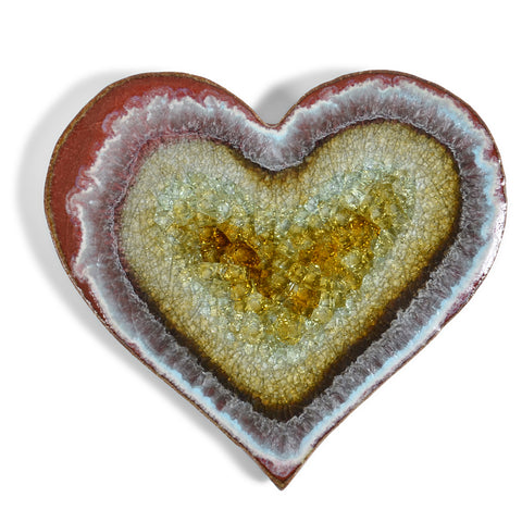 Dock 6 Pottery Heart Ceramic Tile Coaster with Fused Glass, Red