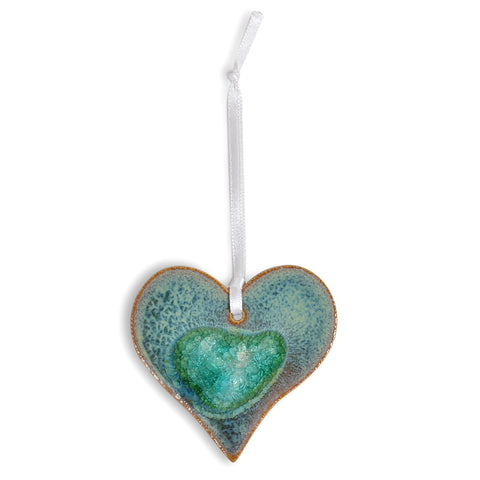 Dock 6 Pottery Heart Ornament with Fused Glass, Textured Turquoise