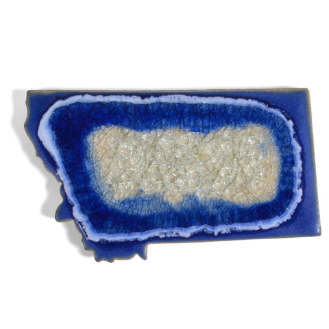 Dock 6 Pottery Montana State Coaster with Fused Glass, Blue