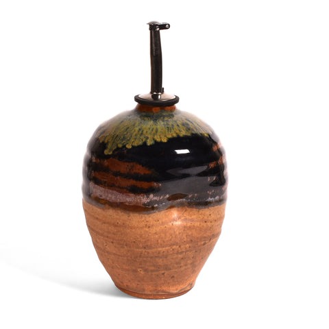 Dock 6 Pottery Handmade Oil Bottle, Sienna/Black