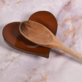 Dock 6 Pottery Heart-Shaped Handmade Spoon Rest / Ring Holder, Cinnamon Red