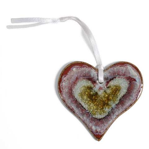 Dock 6 Pottery Heart Ornament with Fused Glass, Red