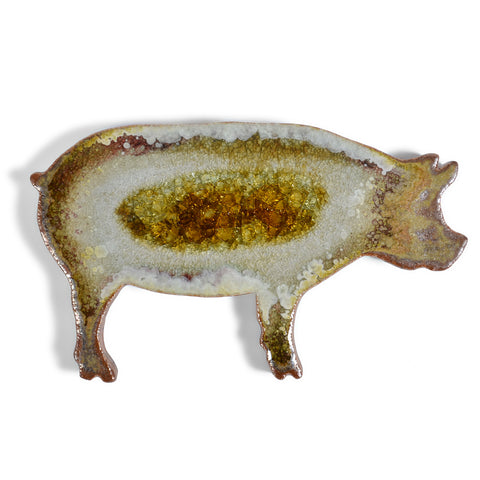 Dock 6 Pottery Pig Coaster with Fused Glass, Copper