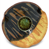 Dock 6 Pottery Pinched Rim Bowl with Fused Glass, Toasted Marshmallow