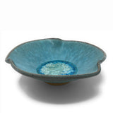 Dock 6 Pottery Pinched Rim Bowl with Fused Glass, Turquoise