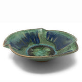 Dock 6 Pottery Pinched Rim Bowl with Fused Glass, Green with Accents