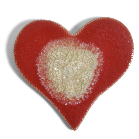 Dock 6 Pottery Red Heart with Glass Refrigerator Magnet