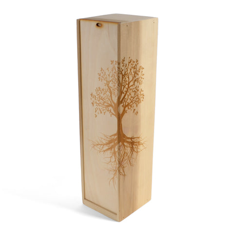 Doles Orchard Tree of Life Laser Etched Wooden Wine Gift Box