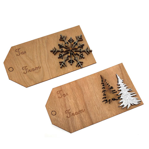 Doles Orchard Laser-Cut Wooden Gift Tags, Set of 2