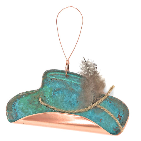 Dos Damas Designs Cowboy Hat with Feather Copper Ornament