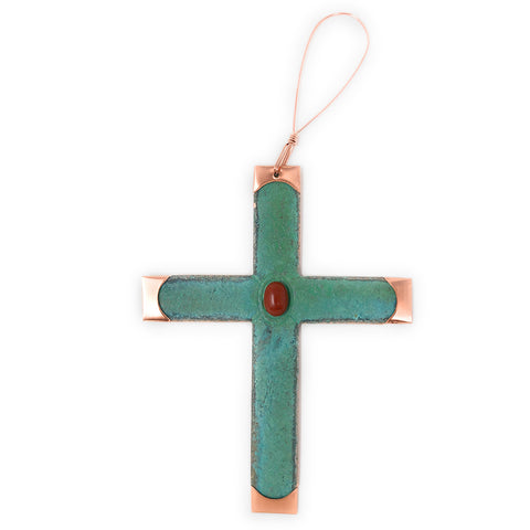 Dos Damas Designs Cross Copper Ornament