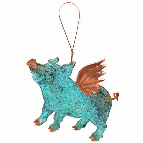 Dos Damas Designs Flying Pig Copper Ornament