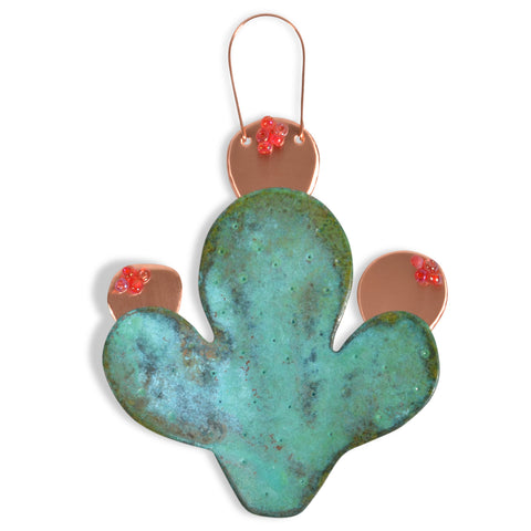 Dos Damas Designs Prickly Pear Cactus Handmade Copper Ornament