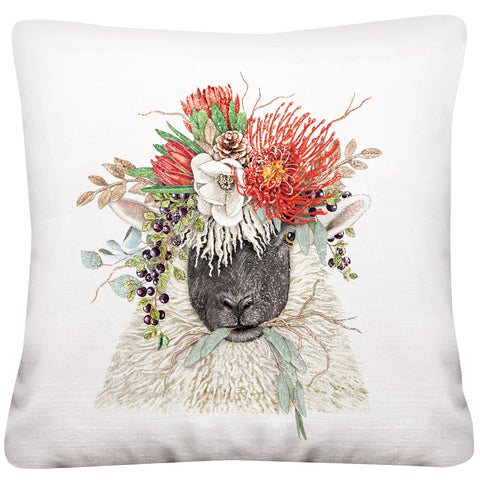 Mary Lake-Thompson Sheep with Protea Crown 16-inch Square Cotton Pillow
