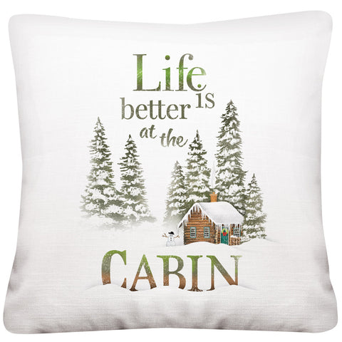 Mary Lake-Thompson Life is Better at The Cabin 16-inch Square Cotton Pillow