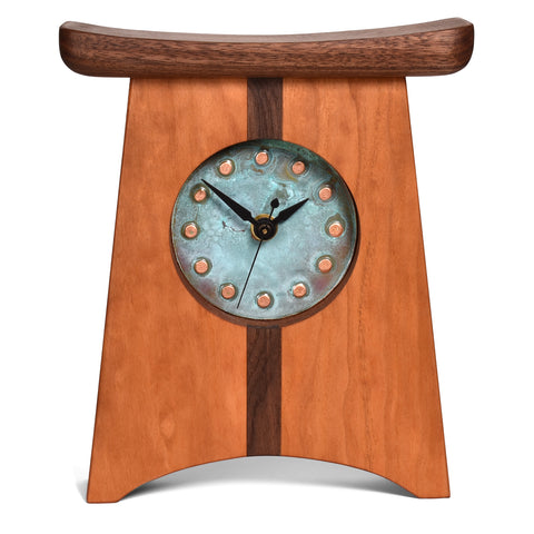 Sabbath-Day Woods East of Appalachia Mantel Clock, Copper Verdigris Face, Handmade in the USA