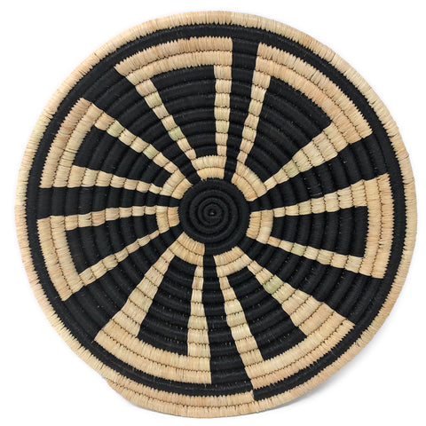 African Fair Trade Handwoven Raffia Basket, Small, Black/Cream