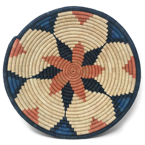 African Fair Trade Handwoven Raffia Basket, Star Pattern, Blue, Medium