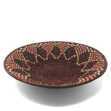 African Fair Trade Handwoven 16-inch Raffia Basket, Brownish Purple