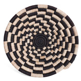 African Fair Trade Handwoven Raffia Basket for Wall or Table Display, Black/Ivory Check, X-Small
