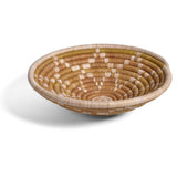 African Fair Trade Star Pattern Handwoven Raffia Basket, Natural/Ivory, X-Small