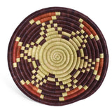 African Fair Trade Handwoven Raffia Basket for Wall or Table Display, Plum/Rust/Mint, X-Small