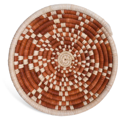 African Fair Trade Handwoven Raffia Basket for Wall or Table Display, Rust/Ivory, X-Small