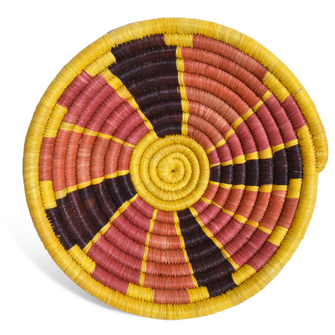 African Fair Trade Handwoven Raffia Basket for Wall or Table Display, Terracotta/Yellow, X-Small