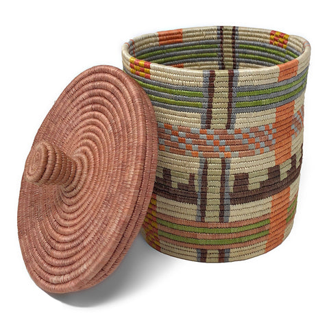 African Fair Trade Handwoven 9.5-inch Lidded Box, Terracotta