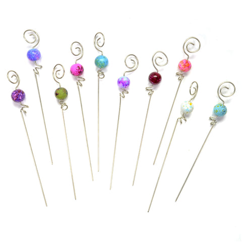 Gone Home Garnish Picks with Speckled Multicolor Beads, Set of 10