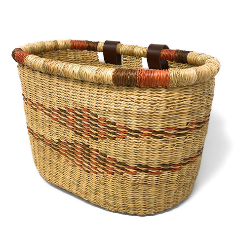 African Handwoven Bolga Bicycle Basket with Diamond Stripes, Saffron Natural