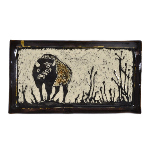 "Goldhawk Pottery 10"" x 5"" Bison Tray"