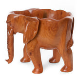 African Hand Carved Mahogany Standing Elephant Bowl from Ghana