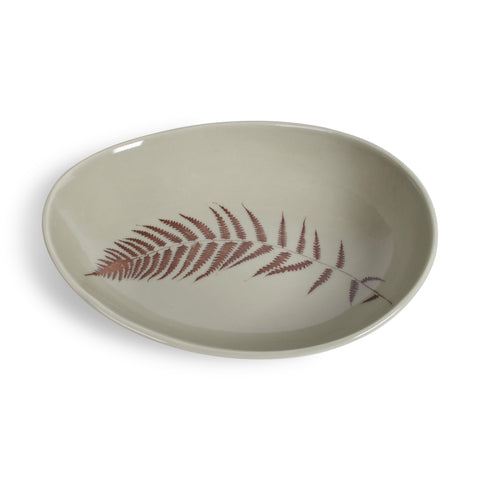 Gleena Handmade Porcelain Oval Serving Bowl, Fern Leaf, Sage