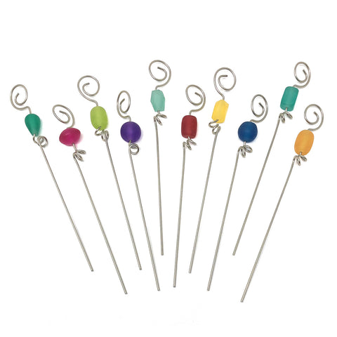 Gone Home Handmade Beaded Garnish Picks, Multicolor, Set of 10