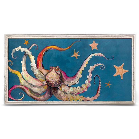 Octopus and Starfish by Eli Halpin 10 x 5 Mini Framed Canvas, Rustic White Wash