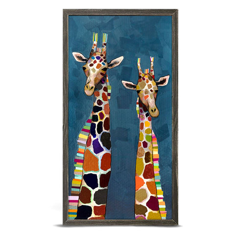 Two Giraffes on Blue by Eli Halpin 5 x 10 Mini Framed Canvas
