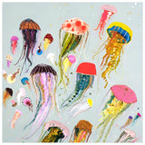 Floating Jellyfish by Eli Halpin Canvas Wall Art, 14 x 14