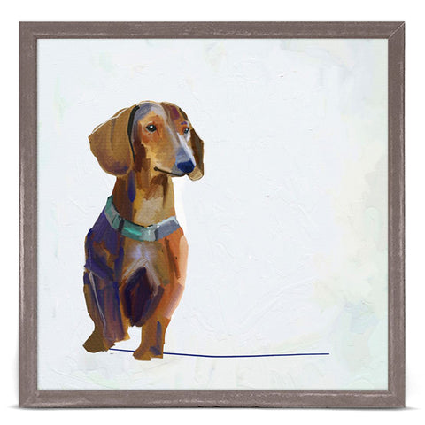GreenBox Art + Culture Best Friend Dachshund by Cathy Walters 6 x 6 Mini Framed Canvas