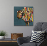 Bison on Blue by Eli Halpin Canvas Wall Art, 14 x 14